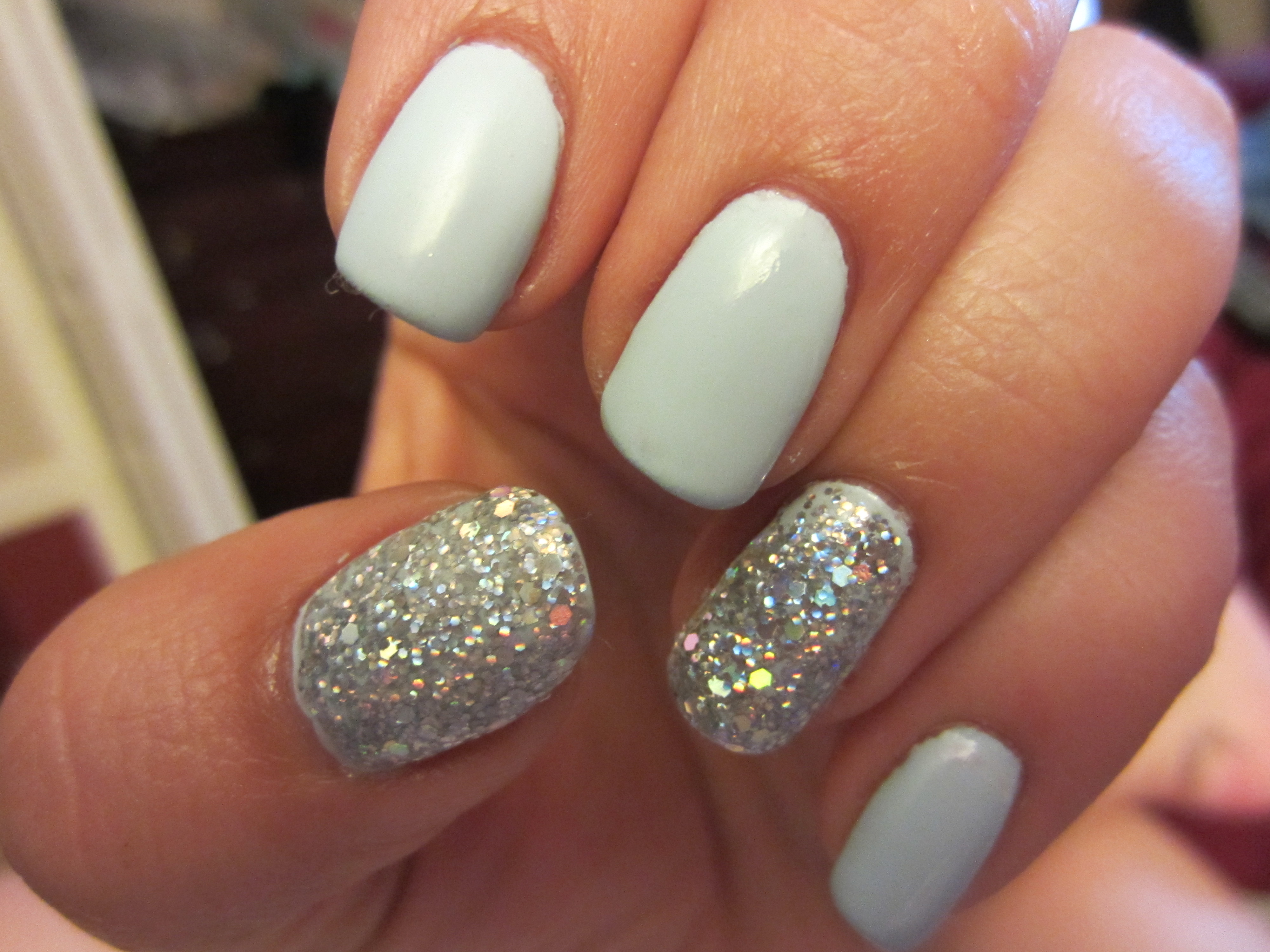 """Nail of the Day! Essie\'s """"Borrowed and Blue"""" with some Frosting ..."""